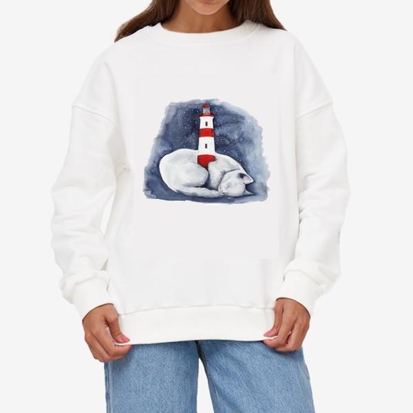 Свитшот «Спящий кот и красный маяк »