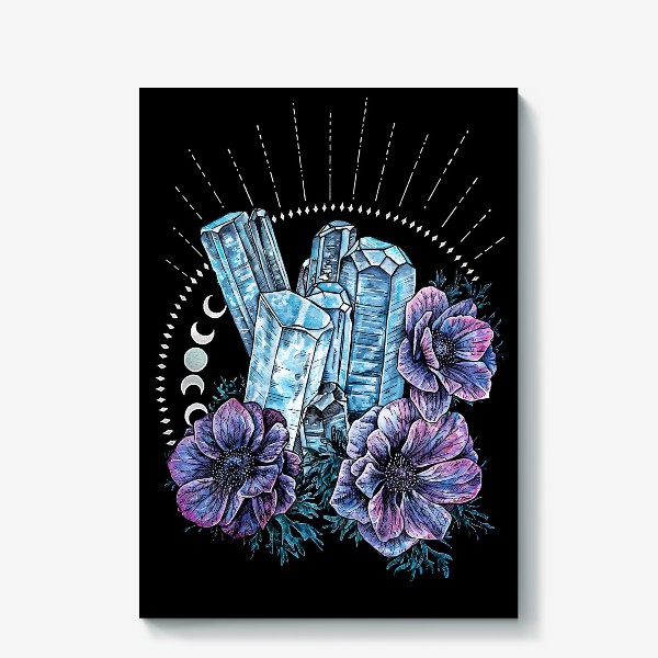 Холст «Аквамарин и анемоны на черном фоне, кристалл и цветы »
