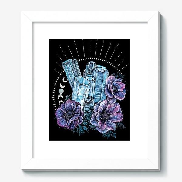 Картина «Аквамарин и анемоны на черном фоне, кристалл и цветы »