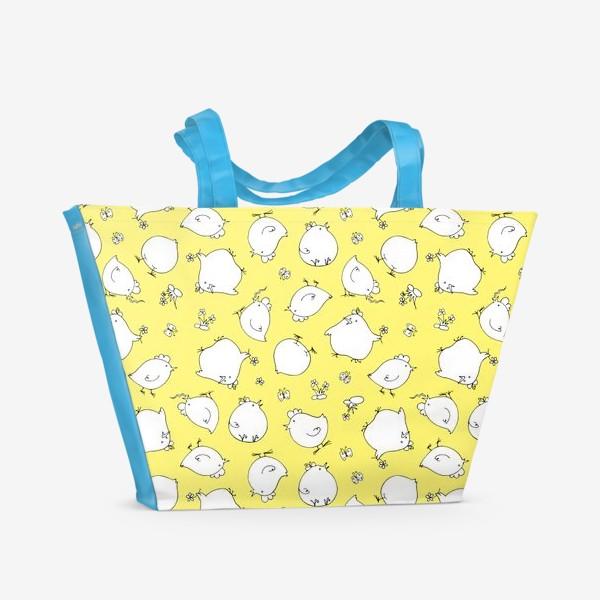 Пляжная сумка «забавные цыплята, детский принт»