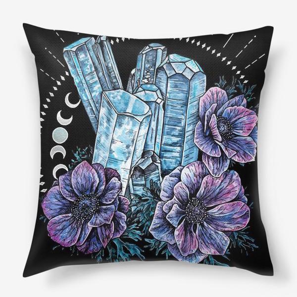 Подушка «Аквамарин и анемоны на черном фоне, кристалл и цветы »