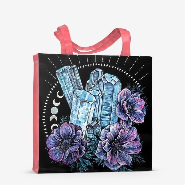 Сумка-шоппер «Аквамарин и анемоны на черном фоне, кристалл и цветы »