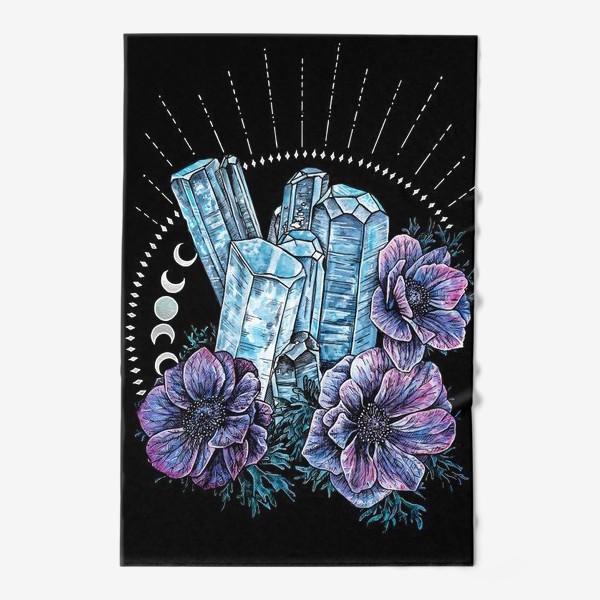 Полотенце «Аквамарин и анемоны на черном фоне, кристалл и цветы »