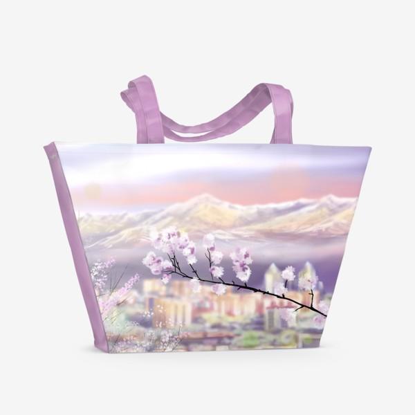 Пляжная сумка «Цветущая Алма-Ата. Алматы. Весна.»
