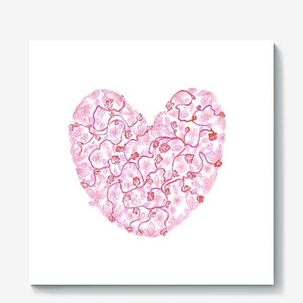 Холст «Любовь Розовое сердце с цветами»