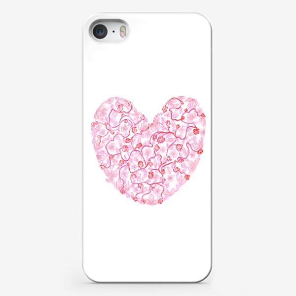 Чехол iPhone «Любовь Розовое сердце с цветами»