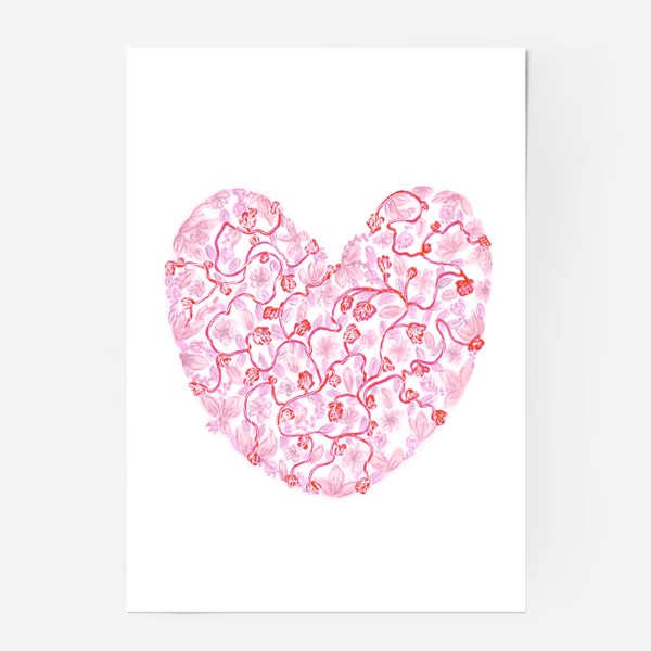 Постер «Любовь Розовое сердце с цветами»