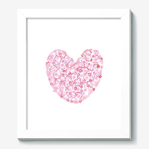 Картина «Любовь Розовое сердце с цветами»