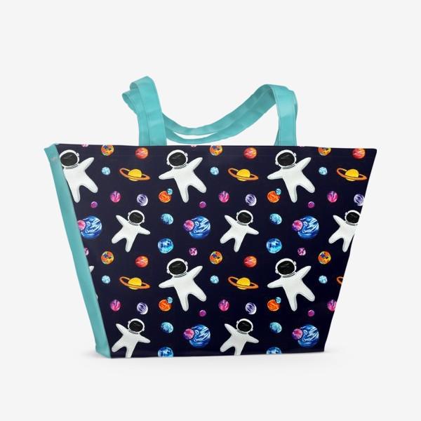 Пляжная сумка «Космонавт, планеты Космический паттерн  День Космонавтики»