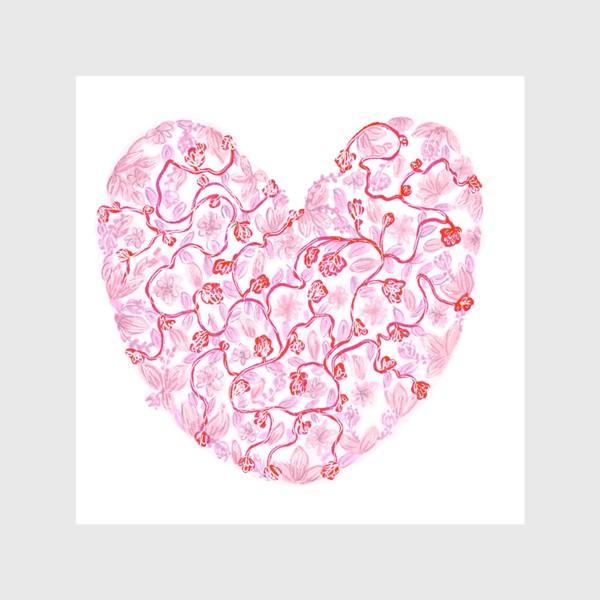 Шторы «Любовь Розовое сердце с цветами»