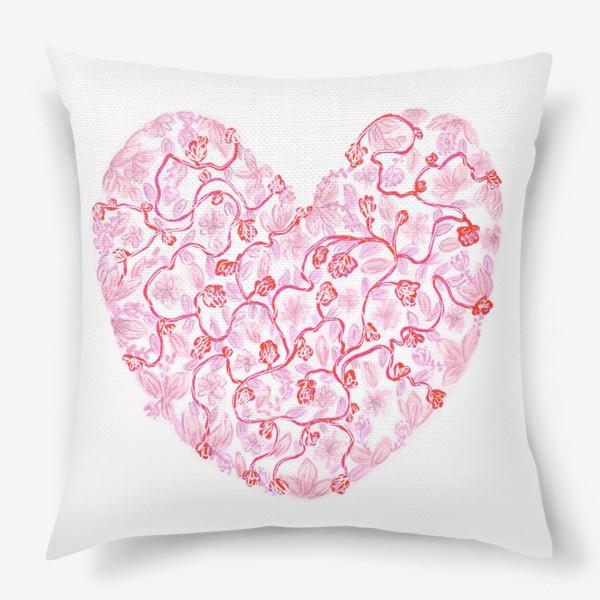 Подушка «Любовь Розовое сердце с цветами»