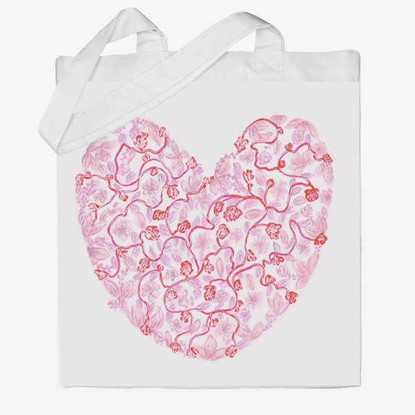 Сумка хб «Любовь Розовое сердце с цветами»