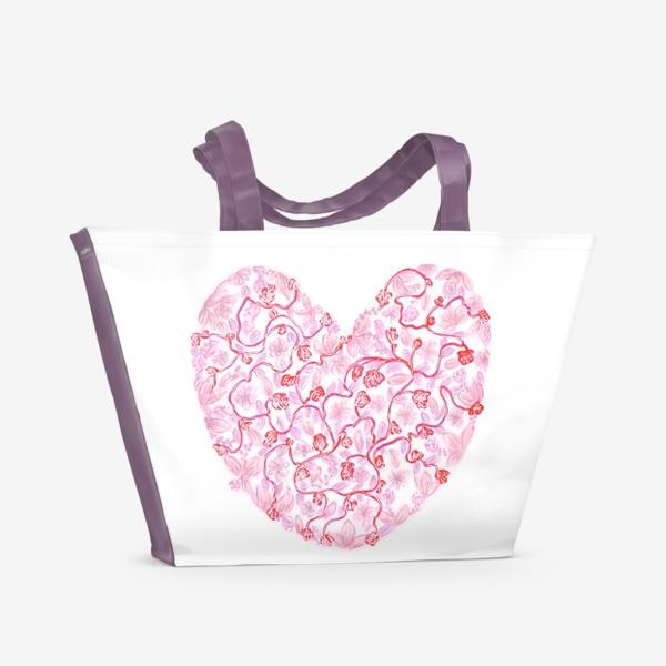 Пляжная сумка «Любовь Розовое сердце с цветами»