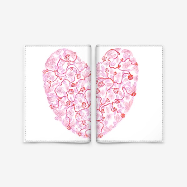 Обложка для паспорта «Любовь Розовое сердце с цветами»