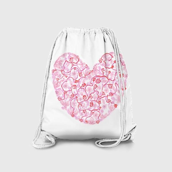 Рюкзак «Любовь Розовое сердце с цветами»