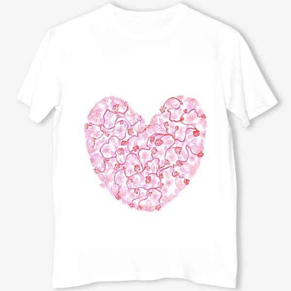 Футболка «Любовь Розовое сердце с цветами»
