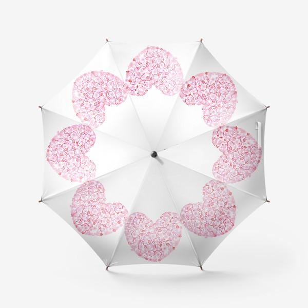 Зонт «Любовь Розовое сердце с цветами»