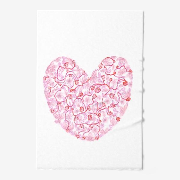 Полотенце «Любовь Розовое сердце с цветами»