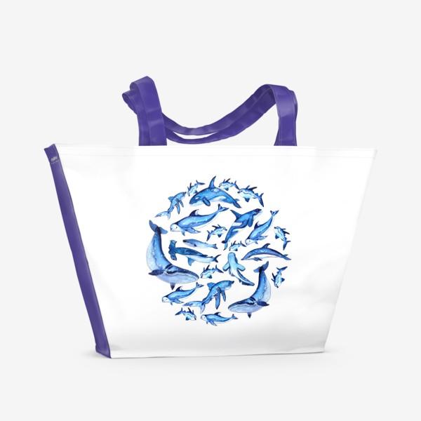 Пляжная сумка «круг из рыб, акул, китов»
