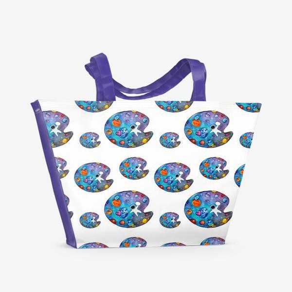 Пляжная сумка «Космическая палитра День Космонавтики Паттерн космонавты»