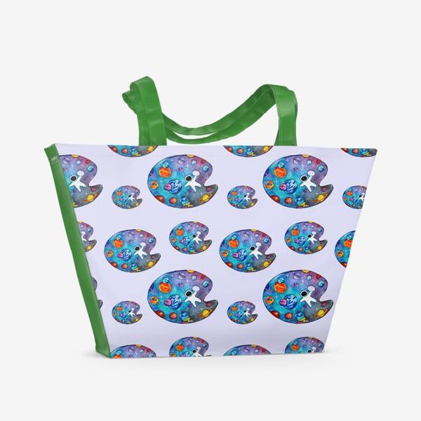 Пляжная сумка «Космическая палитра лаванда День Космонавтики Паттерн космонавты»