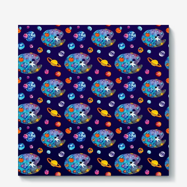 Холст «Космос День Космонавтики Планеты Звезды Космонавт Фиолетовый фон»