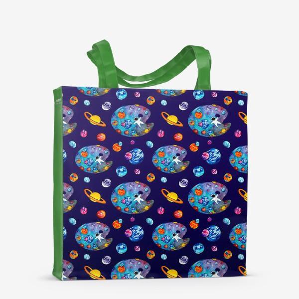 Сумка-шоппер «Космос День Космонавтики Планеты Звезды Космонавт Фиолетовый фон»