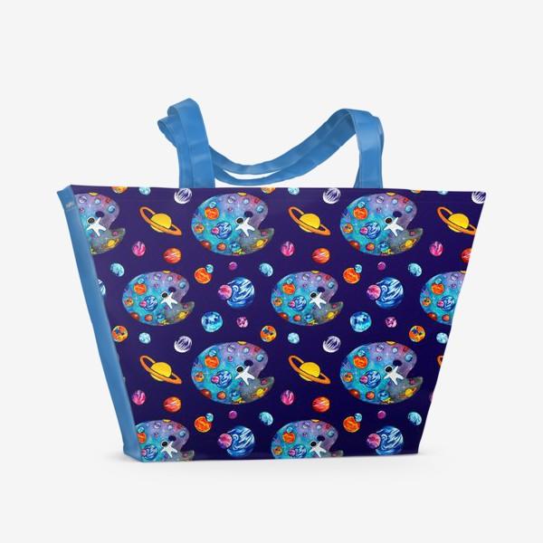 Пляжная сумка «Космос День Космонавтики Планеты Звезды Космонавт Фиолетовый фон»