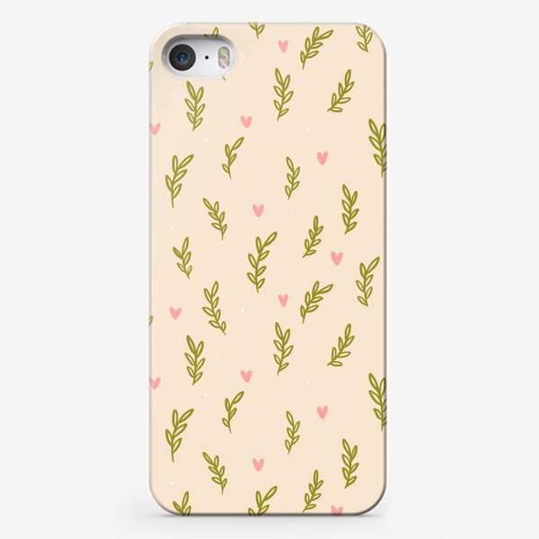 Чехол iPhone «Нежный паттерн с веточками и сердечками»
