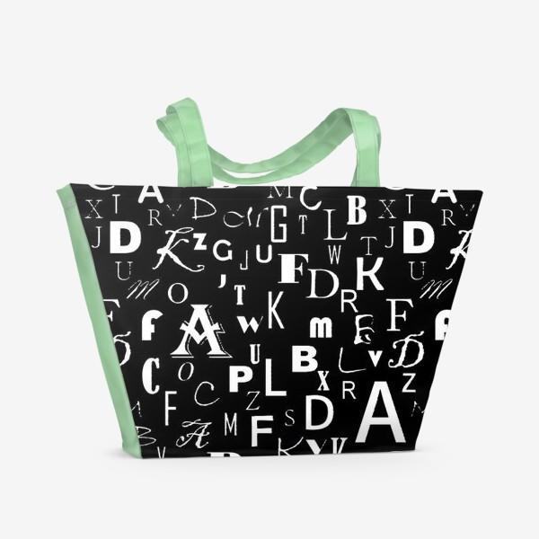 Пляжная сумка «Буквы на черном»