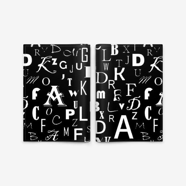 Обложка для паспорта «Буквы на черном»