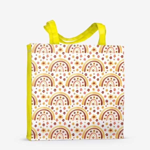 Сумка-шоппер «Паттерн радуги бохо с цветами»