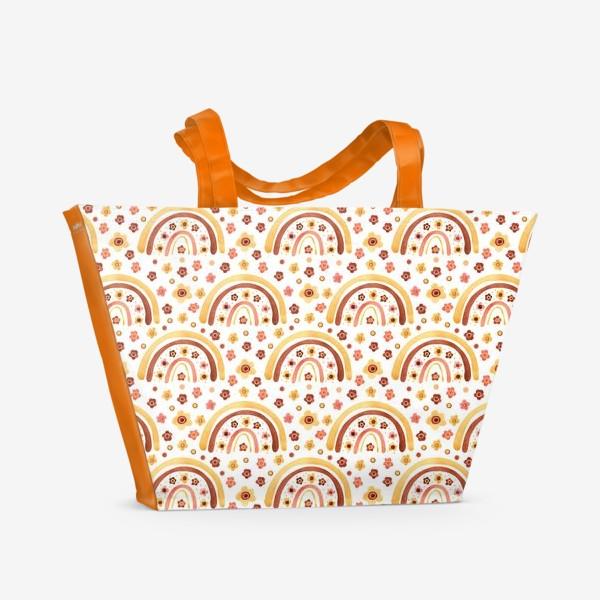 Пляжная сумка «Паттерн радуги бохо с цветами»
