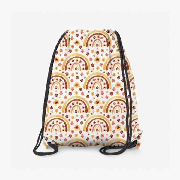Рюкзак «Паттерн радуги бохо с цветами»
