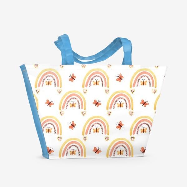 Пляжная сумка «Радуги бохо с бабочками паттерн»