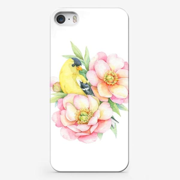 Чехол iPhone «Канарейка в пионах»
