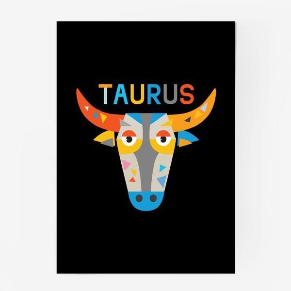 Постер «Taurus. Знак зодиака Телец. Черный»