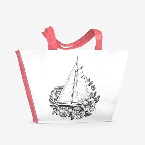 Пляжная сумка «Яхта с цветами»
