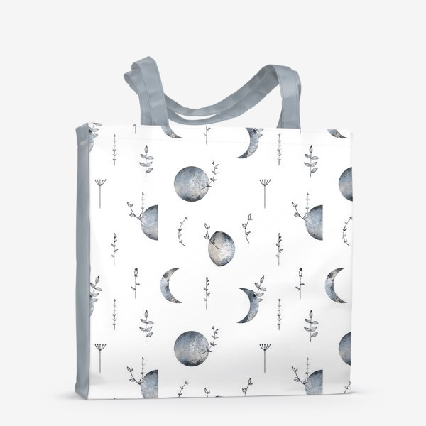 Сумка-шоппер «Космос луна и месяц, травы паттерн на белом»