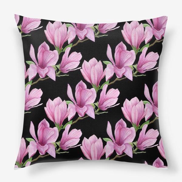 Подушка «цветущая магнолия на темном»