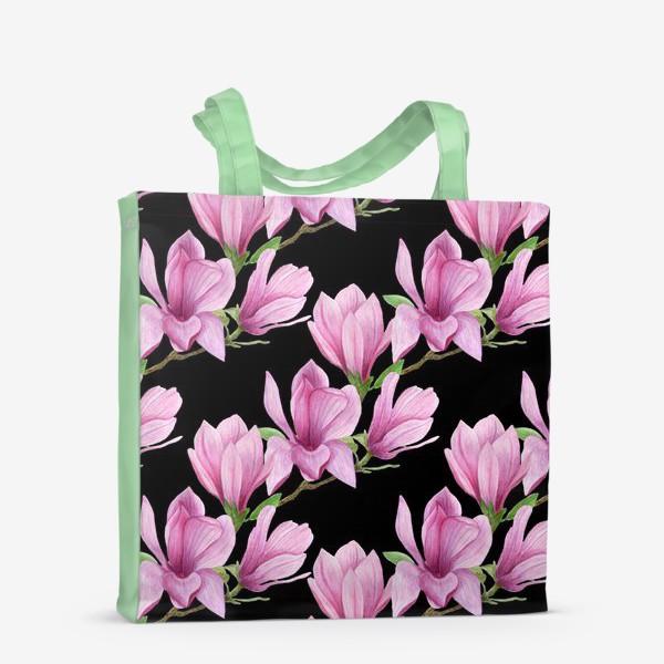 Сумка-шоппер «цветущая магнолия на темном»