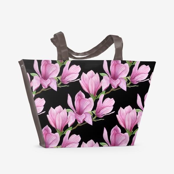 Пляжная сумка «цветущая магнолия на темном»