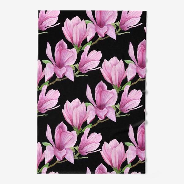 Полотенце «цветущая магнолия на темном»