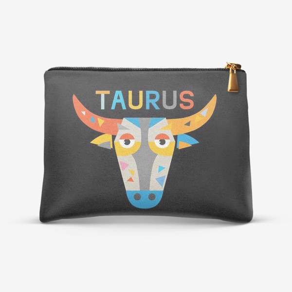 Косметичка «Taurus. Знак зодиака Телец. Черный»