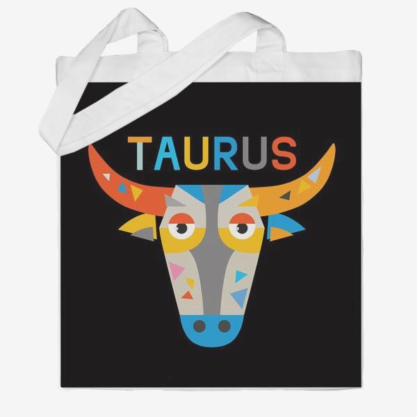 Сумка хб «Taurus. Знак зодиака Телец. Черный»