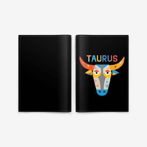Обложка для паспорта «Taurus. Знак зодиака Телец. Черный»