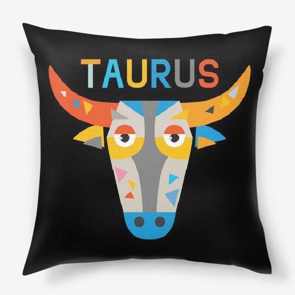 Подушка «Taurus. Знак зодиака Телец. Черный»