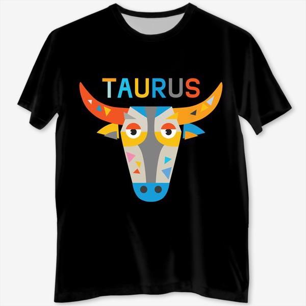 Футболка с полной запечаткой «Taurus. Знак зодиака Телец. Черный»