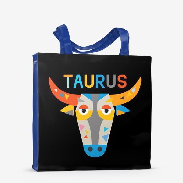 Сумка-шоппер «Taurus. Знак зодиака Телец. Черный»