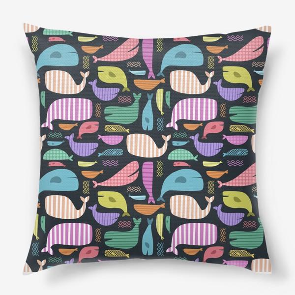 Подушка «Киты абстракция 2»